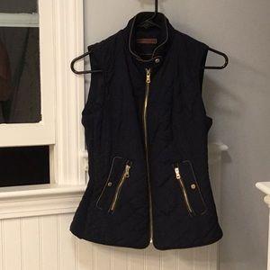 Zara Navy Quilted Zipper Vest
